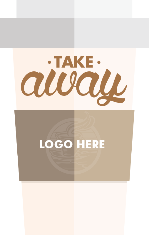 TenStickers. Custom Takeaway Coffee Cup Sticker. A personalised window sticker showing an illustration of a coffee cup with your company logo. A brilliant customisable coffee wall sticker for to allow your business to advertise that you sell takeaway coffee in a unique and professional way.