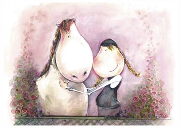 TenStickers. Sticker enfant cheval portait. Une illustration originale de Lol Malone sur sticker pour décorer la chambre de votre petite fille. Un design original façon portrait d'une fillette et de son cheval.