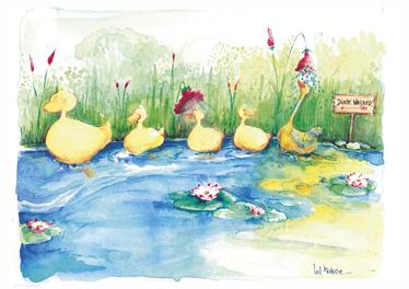 TENSTICKERS. 子供アヒルの家族の壁の壁画. キッズウォールステッカー-オリジナルおよび排他的なテンステッカーデザイン。笑マローンによって池でパドルを取ってアヒルの幸せな家族のイラスト。