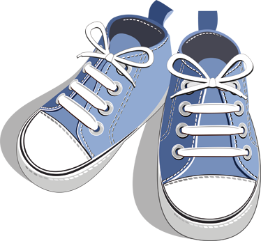 TenStickers. Blue Trainers Sticker. Decorative sticker for kids illustrating blue trainers for the little ones. Brilliant decal to decorate your child´s room.