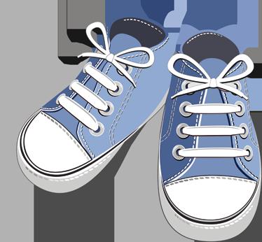 TenStickers. Sticker enfant tennis bleues. Stickers décoratif illustrant une paire de tennis bleues.Idéal pour apporter de la gaieté aux espaces de jeux des enfants. Idée déco originale pour la chambre d'enfant.