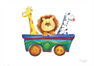 TenStickers. Kids Mini Zoo Cart Wall Mural. Kids Wall Stickers - Original and exclusive Tensticker design. Illustration of a cart with a giraffe, lion and zebra against a white background