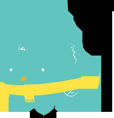 TenVinilo. Vinilo infantil pollito Lolo malito. Original ilustración en adhesivo decorativo realizada por Pablo Mateo en la que aparece una pequeña cría de ave de color verde con bufanda y algo resfriada.