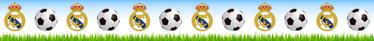 TenVinilo. Vinilo decorativo cenefa Real Madrid. De nuestra colección de vinilos decorativos infantiles una espectacular cenefa de tu equipo favorito para las paredes de la habitación de los niños.