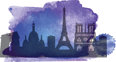 TenStickers. Watercolour Paris Silhouette Sticker. A brilliant decal illustrating famous monuments or touristic building from all over the world. Silhouette design from our purple wall stickers set.