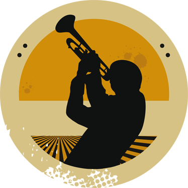 TenStickers. Trumpeter Silhouette Circular Decal. Decorative musical sticker of a trumpeter. A perfect wall decal to decorate your walls especially for those that love the trumpet!