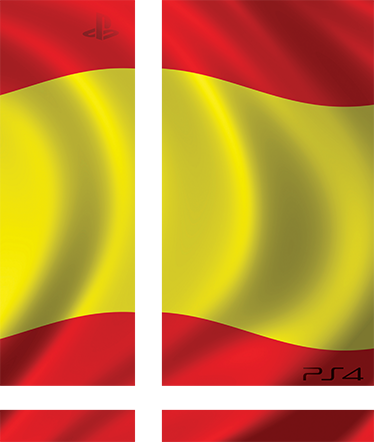 TenStickers. Spain Flag PS4 Skin. High quality vinyl PS4 sticker of the Spanish flag in the wind. Decorate and protect your console with the vibrant national colours of Spain.