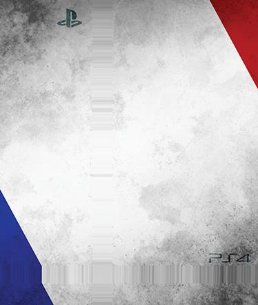 TenStickers. PS4 sticker Frankrig. Personliggør din PlayStation 4 konsoller med denne sticker med dette franske design. Dekorere og beskytte din PS4 mod ridser og støv. Let at påføre.