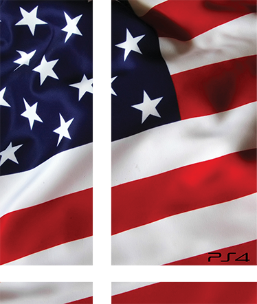 TenStickers. USA Flag PS4 Skin. Wrap your PS4 in the red, white and blue of the American flag. This PS4 decal is extremely easy to apply without the risk of bubbles in the material.