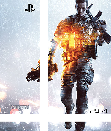 TenVinilo. Vinilo PlayStation 4 Battlefield 4. Vinilo para PS4 de uno de los Shooter de Guerra más vendidos. Battlefield 4 es el vinilo ideal si te gusta jugar interminables partidas online a este juego y a la vez quieres disfrutar de una videoconsola única. Adhesivos de fácil aplicación.