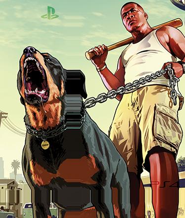 TenVinilo. Vinilo PS4 Grand Theft Auto V. Ilustración característica del mítico juego Grand Theft Auto. Decora tu videoconsola si eres entusiasta de este juego y pasas largas horas deambulando por la ciudad, extorsionando y robando coches. Dota tu consola de un aire único con estos vinilos baratos de facil aplicación.