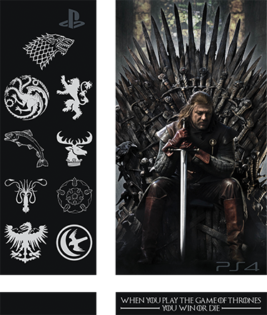TenStickers. Sticker PS4 Game of Thrones. Fan de la série Game of Thrones ? Ce sticker est fait pour vous ! Personnalisez votre PlayStation avec le sticker de la saga conçu spécialement pour PS4. Votre console ne passera plus inaperçue et n'appartiendra qu'à vous.