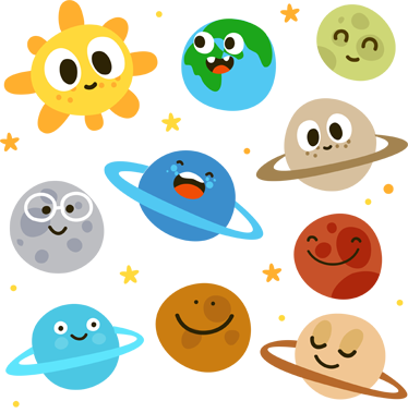 TenStickers. Kids Fun Planets Wall Decals. Kids Wall Stickers - Collection of playful cartoon wall stickers of the sun and 9 planets among the stars, from our space wall stickers range. Great feature in any kids room, nursery or classroom to make sure learning is fun.