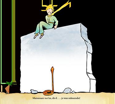 TenVinilo. Vinilo infantil Principito escena muro. Ilustración de la novela corta infantil de Antoine Saint-Exupéry, vinilos infantiles para ilustrar las paredes de las habitaciones de los más pequeños con una de las escenas más emblemáticas del cuento acompañadas con un texto del libro original en francés.