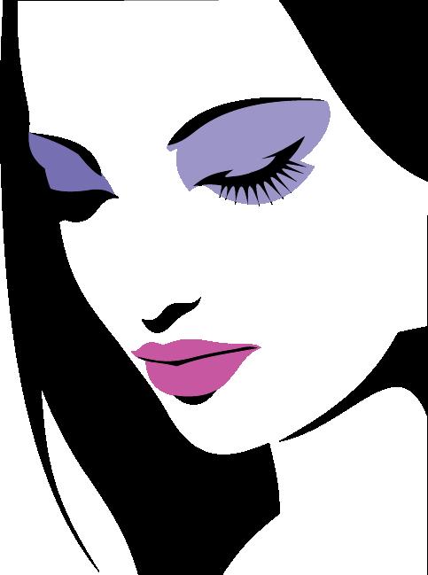 TENSTICKERS. メイクアップステッカーと肖像画. メイクアップの女の子の装飾的なステンシルステッカー。壁を飾る華麗なデカール。