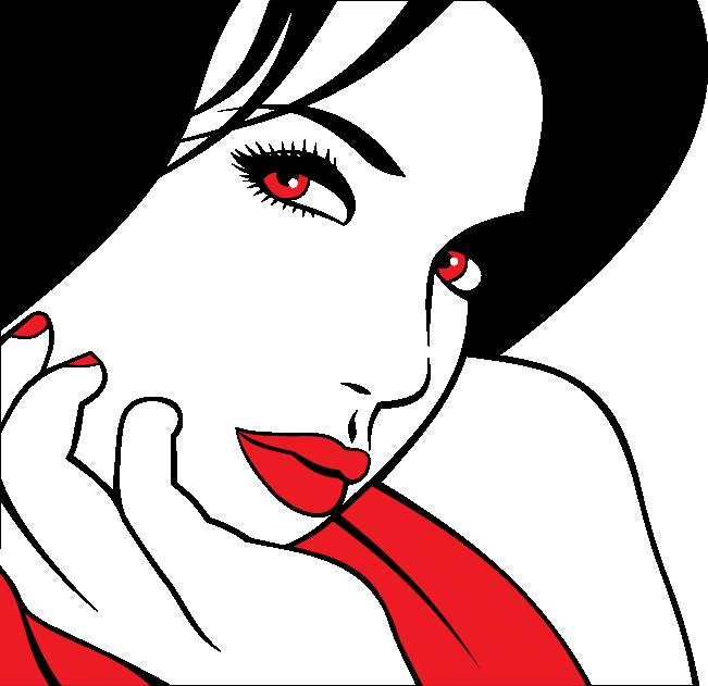 TenStickers. красные глаза стикер. декоративная трафаретная наклейка девушки с красивыми ярко-красными глазами. блестящая наклейка для украшения пустых стен дома.