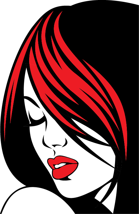 TenStickers. Red Hair and Lips Sticker. Decorative stencil sticker of a beautiful girl with bright red hair and lips. Brilliant decal to decorate any space at home!