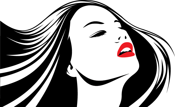 TenStickers. Hair Down with Red Lips Sticker. Decorative stencil sticker of a beautiful woman with bright red lips. Brilliant wall decal to decorate your home.