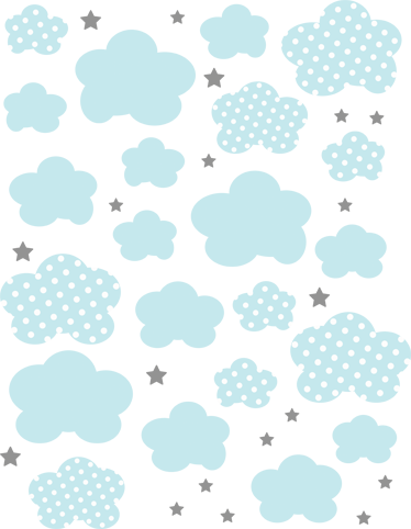 TenStickers. Pack of 41 Blue Clouds Kids Stickers. A brilliant cloud design that your kid will love. A fantastic design from our collection of cloud wall stickers showing light blue clouds and stars.