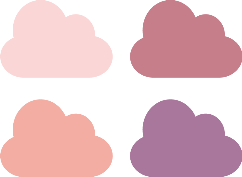 TenStickers. Pink Tones Cloud Stickers Collection. A set of cloud decals to decorate your child's nursery! This design from our collection of purple and pink wall stickers is ideal for the little ones. You can rearrange the position of these decals your way! Available in various sizes and easy to apply leaving no residue upon removal.