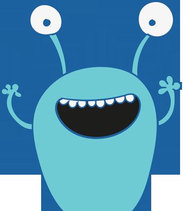 Tenstickers. Sininen hirviö vaatekaappi lapsille -tarra. Lasten tarra koristelemaan lasten vaatekaappiasi tai mitä tahansa sileää pintaa. Alkuperäinen malli hauskasista seinätarroistamme.