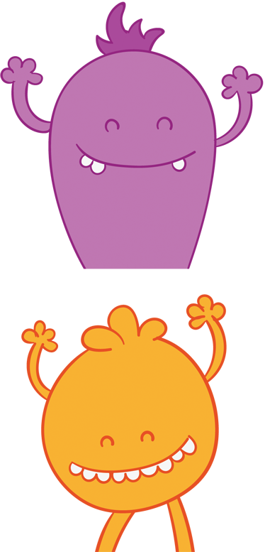 TenStickers. Fun Monsters Wardrobe Sticker. Fun kids decal to decorate your wardrobes or doors in a funny and colourful way. Cartoon wall sticker shows two happy monsters smiling an waving, one orange, one purple. This decal is just what's missing from your child's bedroom to create a playful atmosphere at all times.