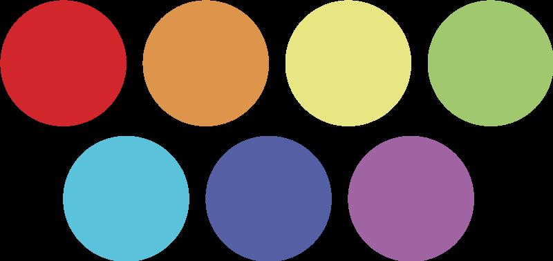 TenStickers. Adesivo palline arcobaleno. Wall sticker deorativo he raffigura un set di stickers composto da 84 palline colorate.