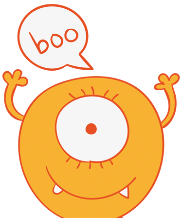 "TenStickers. Yellow Monster Wardrobe Kids Sticker. A fun illustration of an orange circular one-eyed alien saying ""boo"". Brilliant wall decal from our collection of funny wall stickers! A creative decal to personalise your children's room. Designed by Freepik."