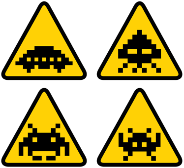 TenStickers. Space Invader Sign Stickers. A set ofsign wall stickersillustrating characters from the famous and nostalgic video game from the 80s, Space Invaders. A greatvideo game stickerto decorate your doors, walls or anywhere else in your home.
