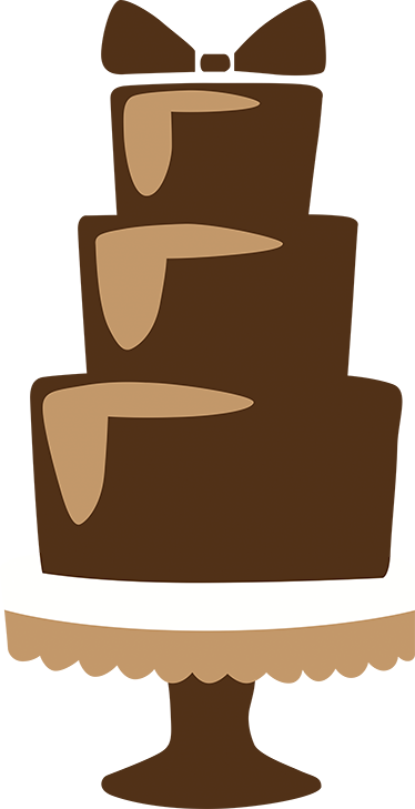 TenStickers. Three Tier Chocolate Bow Cake Decal. Cake - Illustration of a three tier mouth watering chocolate cake with a bow decoration on top
