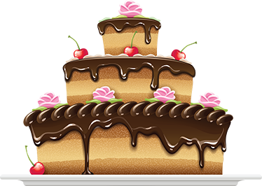 TenStickers. Three Tier Chocolate Sponge Cake Decal. Cake - Illustration of a three tier mouth watering sponge cake covered in dripping chocolate. An ideal feature great for your kitchen or business.