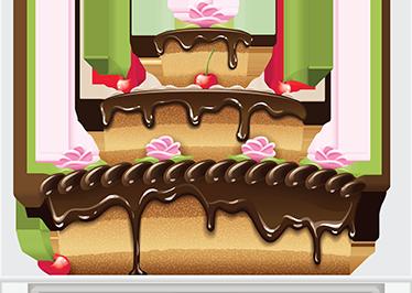 TenStickers. Sticker gâteau coulis chocolat. Décorez votre cuisine avec cet élégant gâteau de trois étages agrémenté d'un coulis chocolat et orné de fruits.