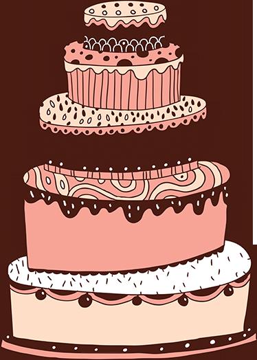 TENSTICKERS. 5層のイラストケーキデカール. ケーキ-5段ケーキの元の手描きイラスト。キッチンやビジネスに最適な機能です。さまざまなサイズで利用できます。