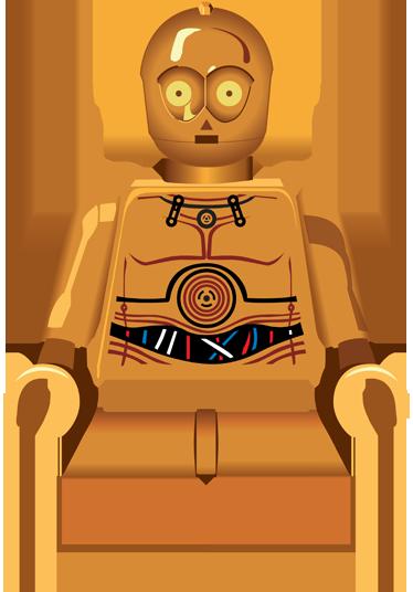 TenVinilo. Vinilo infantil C3PO lego. Pegatinas infantiles inspiradas en el fantástico mundo de la Guerra de las Galaxias y los juguetes de Lego.