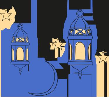 TenStickers. Sticker lanternes orientales. Un sticker d'inspiration orientale pour décorer votre intérieur avec des lanternes éclairées en pleine nuit.