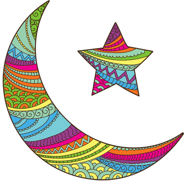 TenStickers. Coloured Arabic Moon and Star Sticker. Sticker with a colourful representative of the Muslim religious icon of a moon and a star.