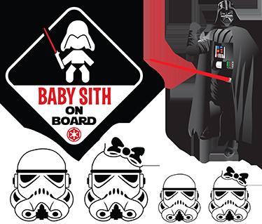 TenVinilo. Stickers Baby Sith. Compilación de cuatro stickers decorativos formados por personajes de Star Wars ideales para colocar en cualquier lugar de superficie lisa, des de la habitación de tus hijos hasta tu coche o motocicleta.