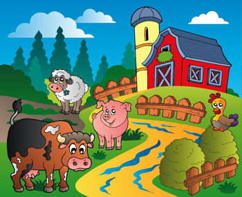 TenStickers. Kids Animal Farm Wall Mural. Kids Wall Stickers -Fun and playful mural of a farm. Bright, vibrant and colourful feature for kids.