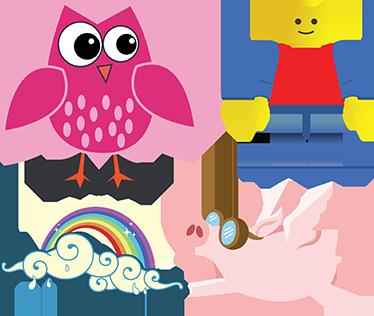 TenVinilo. Stickers infantiles. Kits stickers con una variedad de diseños para poder contentar a tus hijos; un búho rosa, un cerdo volador, un arco iris y un muñeco de lego.