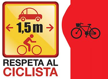 """TenVinilo. Stickers respeta al ciclista. Colección de stickers para los más entusiastas del mundo del ciclismo. Muestra a todos que deben respetar al ciclista y mantener la distancia mínima reglamentaria mientras que por otro lado personalizas tus accesorios con el clásico """"I Love Bikes""""."""