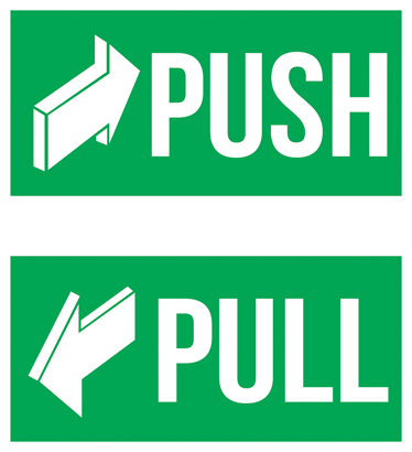 "TenStickers. Push door sticker. Push Sign Decal - At Tenstickers, we sell vinyl ""Push"" and ""Pull"" stickers for doors. This Push sign has a green background with white text. Stickers from £1.99."