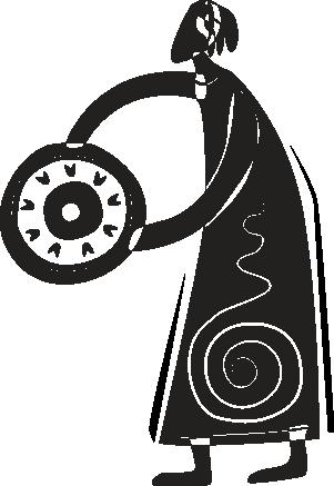 TenStickers. Autocolante étnico Figura tribal com escudo. Autocolante étnico de um ilustração abstrata de uma senhora segurando um escudo circular e usando um vestido longo tribal.