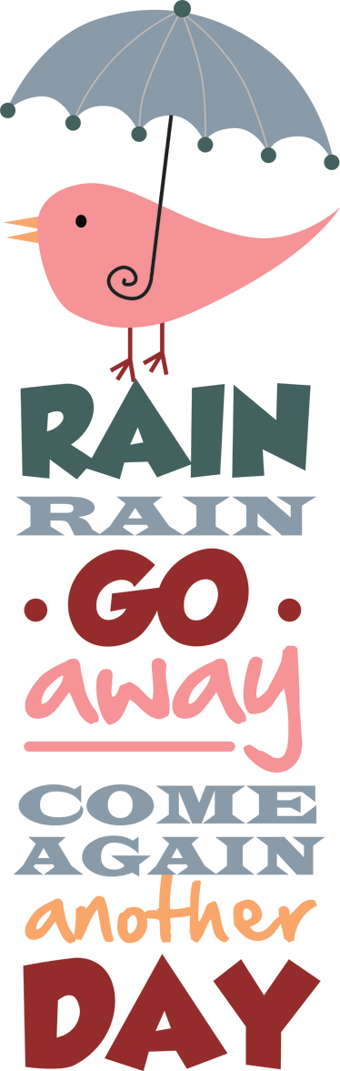 "TenStickers. Wandtattoo Rain Englisch. Wandtattoo fürs Baby und Kinderzimmer in englischer Sprache: ""Rain Rain go away, come again another day"""