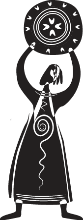 TenStickers. Tribal Woman With Shield Sticker. An abstract monochrome sticker of a woman dressed in tribal clothing holding a shield above her head.