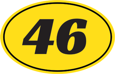 TenStickers. Personalised Motorcycle Numbers Sticker. Motorbike Stickers - Personalise your motorcycle with a yellow oval decal and a customisable number from our collection of number wall stickers.