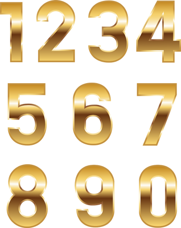 TenStickers. Golden Numbers Stickers. Give your bike an elegant and spectacular look with this set of golden numbers from our collection of number wall stickers