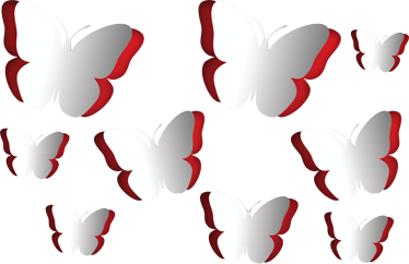 TenStickers. 3D Butterflies Sticker. Collection of nine stickers of butterflies that seem to fold in and out of the wall itself. Brilliant decal to decorate your home.