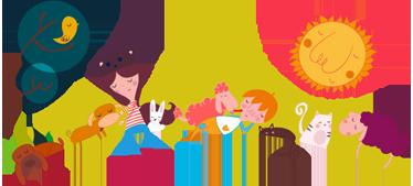 TenVinilo. Vinilo infantil paisaje mascotas. Vinilo decorativo para habitación infantil con la representación de un prado y varios niños acompañados de animales.
