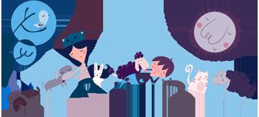 TenVinilo. Vinilo infantil paisaje mascotas tonos azules. Idílico paisaje de niños, mascotas y animales de granja en vinilo decorativo ideal para el cuarto de los niños.