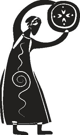 TENSTICKERS. 部族図シールド壁ステッカー. ウォールステッカー-長いドレスを着た円形の盾を運ぶ女性のイラスト。 50色で入手可能。